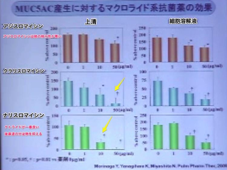 MUC5A産生に対するマクロライド系抗菌剤の効果